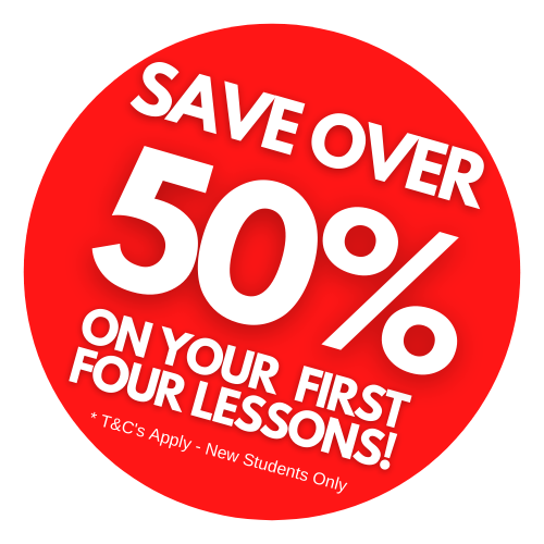50% OFF MUSIC LESSONS SIGN